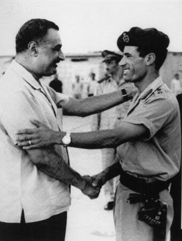 Gamal Abdel Nasser and Muammar al-Qaddafi